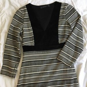 Zara Black and Tan woven print dress